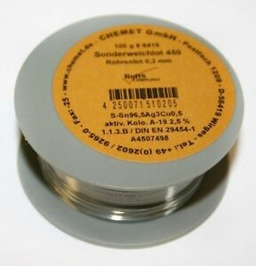 Rare Alloy Lead Free Solder Wire Sn96 5ag3cu0 5 0 3mm 100g With Flux By Chemet