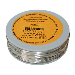 Rare Alloy Lead Free Solder Wire Sn96 5ag3cu0 5 0 5mm 100g With Flux By Chemet