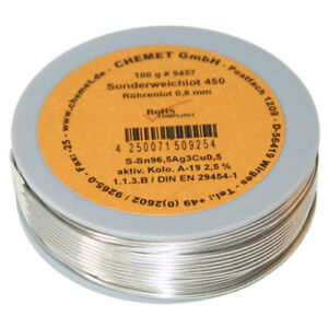 Rare Alloy Lead Free Solder Wire Sn96 5ag3cu0 5 0 8mm 100g With Flux By Chemet
