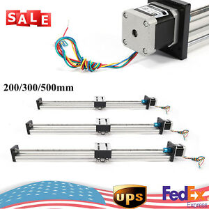 200 300 500mm Travel Linear Slide Rail Guide Sliding Block With Stepping Motor