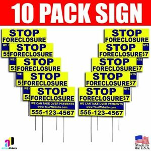 10x Stop Foreclosure Yard Bandit Signs Your Phone Number Real Estate Marketing