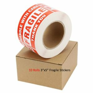 10 Rolls 500 roll 3x5 Fragile Stickers Handle With Care Thank You Shipping Label
