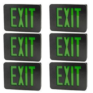 Exit Sign Slim Low Profile With Battery Backup Black Green Led 6pack