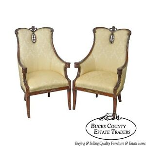 Regency 1940s Vintage Mahogany Prince Of Wales Plume Back Pair Fireside Chairs