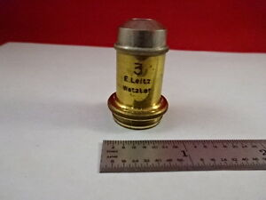Brass Antique Ernst Leitz Objective 3 Optics Microscope Part k2 b 90