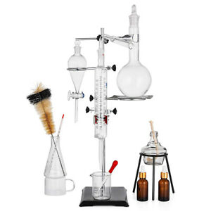 500ml Lab Essential Oil Distillation Pure Water Glassware Apparatus 15pcs Kits