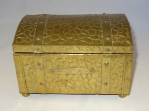 Antique Victorian Wood Brass Zinc Lined Tea Caddy Chest With Strapping