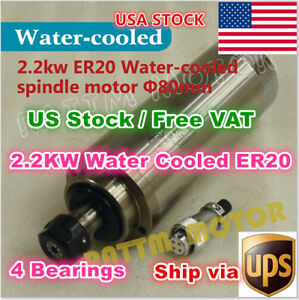 Usa 2 2kw 220v Water Cooled Spindle Motor Er20 Engraving Milling Cnc Router Mill