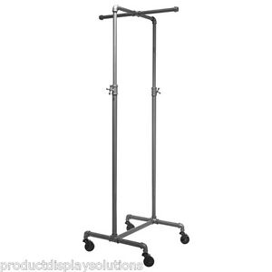 Pipe Pipeline Rolling Clothing Display Rack W Cross Bar Adj Height Grey