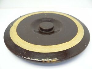 Antique Old Brown Large Water Crock Top Lid Cup Heavy Flanged Used