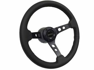 1969 1973 Pontiac Gto S6 Leather Steering Wheel Black Kit 3 Spoke holes