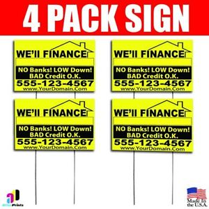 4x We ll Finance No Banks Signs Your Phone Number And Website Real Estate