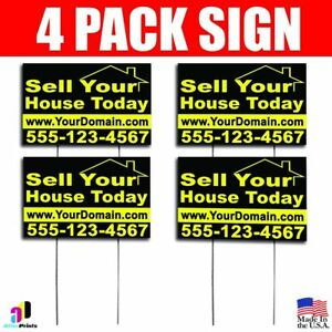 4x Sell Your House Today Signs Your Phone Number And Website Real Estate