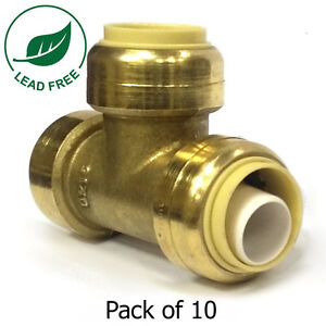 3 4 Sharkbite Style Brass Tee push fit Pack Of 10