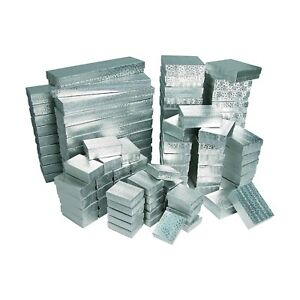 Assorted Silver Jewelry Gift Boxes With Cotton Fill Multiple Size Pack 100 Pcs