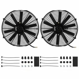 2x 14 Inch Universal 12v Pull push Car Radiator Engine Cooling Fan mounting As