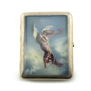 Russian Silver En Plein Enamel Cigarette Case Zichy After Lermontov S Demon