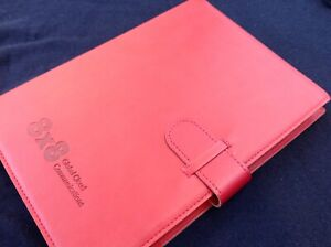 Business Notebook Lined Pages Luxury Synthetic Leather Cover Red 1