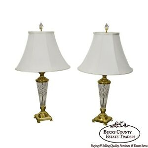 Quality Pair Of Crystal Table Lamps W Shades