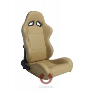 Cipher Auto Tan Leatherette Universal Euro Racing Seats New Pair W sliders
