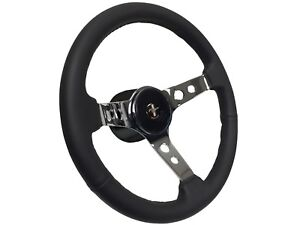 1968 1978 Ford Mustang Leather Steering Wheel Deluxe Fox Body Kit Pony Emb