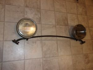 1930 31 Vintage Pair Of Ford Model A Head Lights With Bar And Ford Scrip Lenses