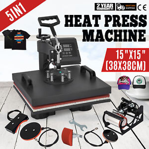 5 In 1 Heat Press Machine Transfer Sublimation Cap T shirt Hat Printing 15 x15