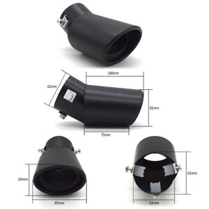 Car Universal Round Black Stainless Steel Chrome Exhaust Tail Muffler Tip Pipe