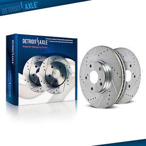 Drilled Slotted Front Disc Brake Rotors Pair For 2007 2010 Chevrolet Cobalt