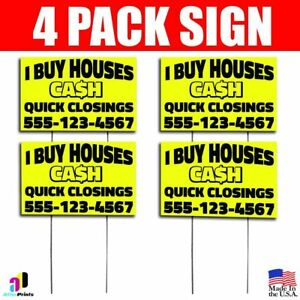 4x I Buy Houses Cash Yard Bandit Signs Your Phone Number Real Estate Marketing