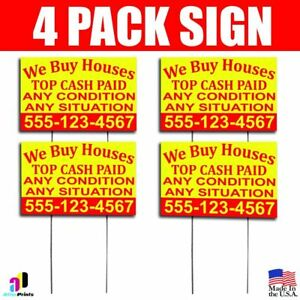 4x We Buy Houses Top Cash Paid Yard Bandit Signs Your Phone Number Real Estate