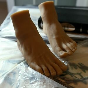 One Pair Lifesize Silicone Brown Male Mannequin Leg Foot Display Size 41 42