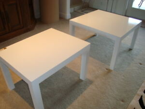 Pair Of Gloss White Mcm Parsons Tables By Thayer Coggin