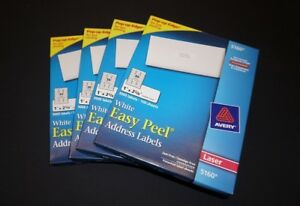 4 X Avery Easy Peel Address Labels 5160 3000 Box 12000 Total Labels