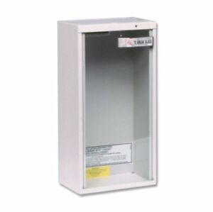 Fire Extinguisher Cabinet Surface Mount Safety Glass Cover Condos White 20 pound