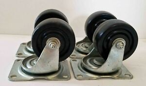 Nos Set Of 4 Bassick 361 Industrial Cart Swivel Wheels Rubber Casters