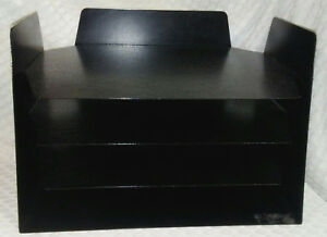 Vintage Black Steel Metal Letter File Tray Buddy Desk Organizer Office Industrl