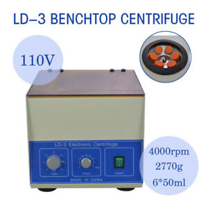 6 50ml New Ld 3 Electric Benchtop Centrifuge Lab Medical Practice 4000rpm
