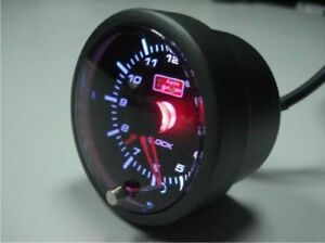 52mm Car Autogauge Time Clock Meter White amber Red Led Clock Time 12v