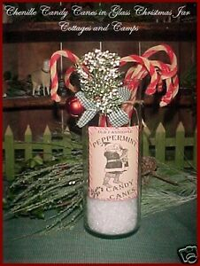 Glass Jar Vtg Xmas Decor Primitive Chenille Candy Canes Label Sleigh Bell