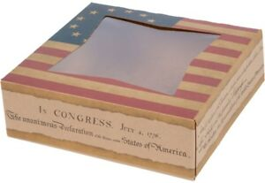 Bakery Box With Window American Flag Design Cookie Pie Cake Boxes pack Of 150