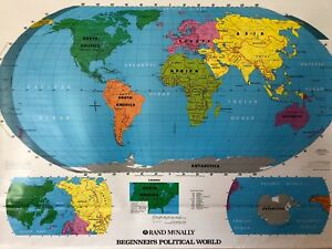 Pull Down School Political Map Of The World Vintage Salvage Old Antique