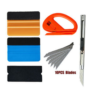 Pro Squeegee Felt Kit Car Vinyl Wrap Application Tools 10 Blades Window Tint Us