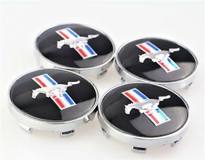 4x For Ford Mustang Cobra Gt Wheel Running Horse Hub Center Caps 60mm Black Set