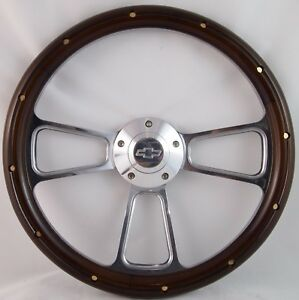 1957 1963 Chevy Full Size Cars Real Wood Chrome Steering Wheel Adapter