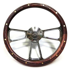 Vintage Chevy Pick Up Truck Wood Chrome Steering Wheel Adapter 1948 1959