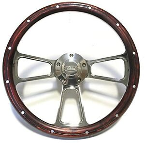 1967 To 1974 Ford Bronco Real Wood Chrome Steering Wheel Full Install Kit
