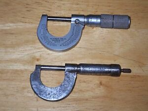 Vintage 0 1 Outside Micrometers two Central Tool Goodell Pratt Usa