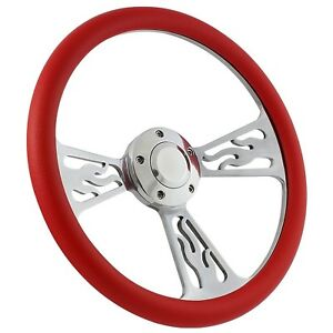 65 69 Ford Fairlane Mustang Flame Steering Wheel 14 Inch Aluminum With Red Wrap