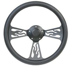 65 69 Ford Fairlane Mustang 14 Billet Half Wrap Steering Wheel Black